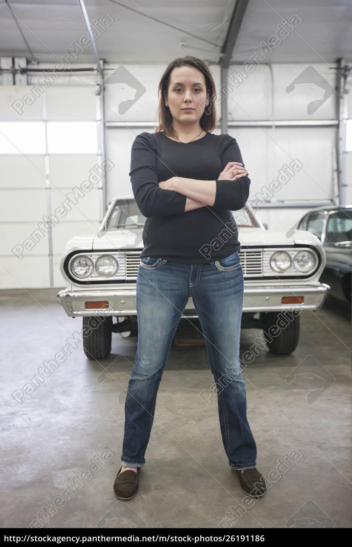 ein, porträt, einer, kaukasischen, mechanikerin, in - 26191186