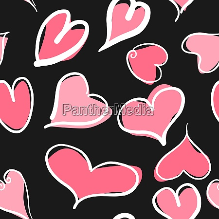 abstract seamless pattern with hearts and