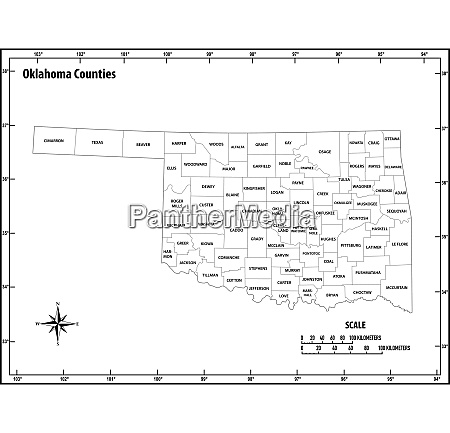 oklahoma state outline administrative and political