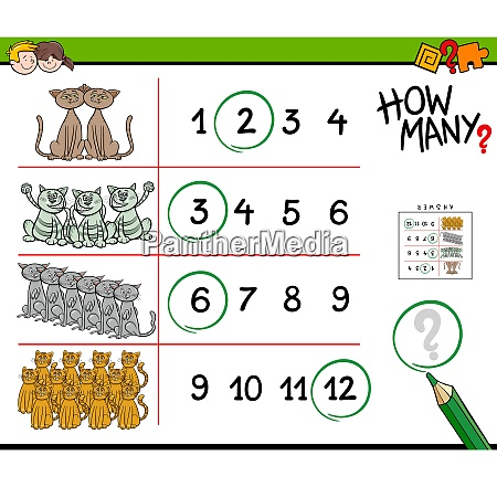 cats counting game cartoon illustration