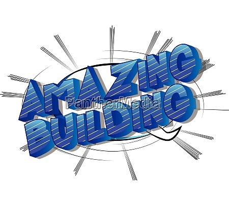 amazing building comic book style