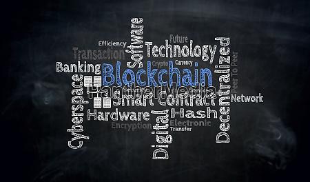 blockchain wordcloud auf tafelkonzept