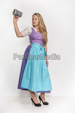 young woman in bavarian dress