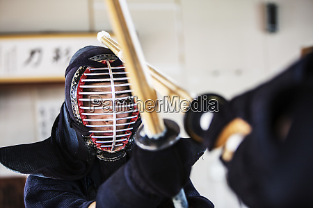 close up of japanese kendo fighter