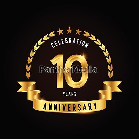10 jahre jubilaeumsfeier logotyp goldenes jubilaeums