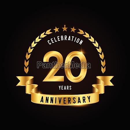 20 jaehriges jubilaeum feier logotyp goldenes