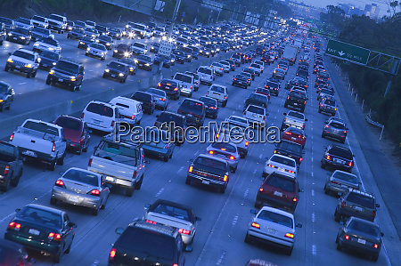 aerial view of cars on freeway