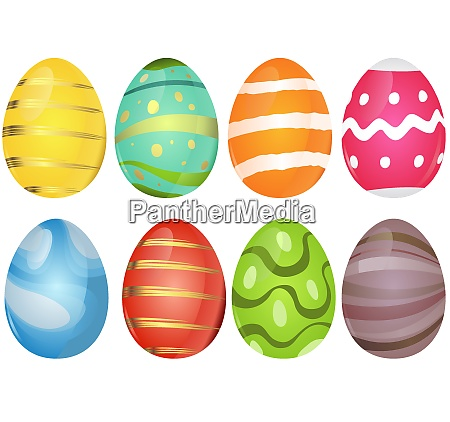 colorful easter eggs collection