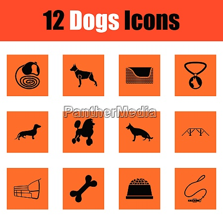 dogs icon set orange design vector