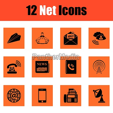 communication icon set orange design vector