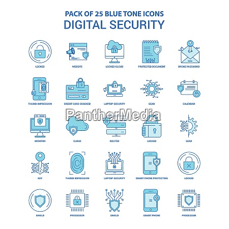 digital security blue tone icon pack