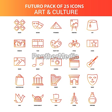 orange, futuro, 25, kunst-und, kultur-icon-set - 26220225