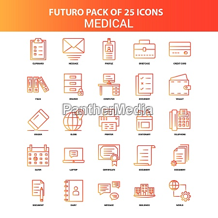 orange futuro 25 medical icon set