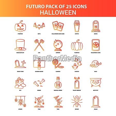 orange futuro 25 halloween icon set
