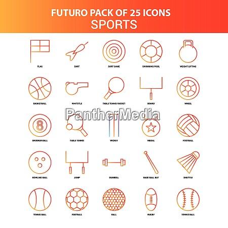 orange futuro 25 sports icon set