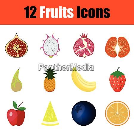 fruit icon set color design