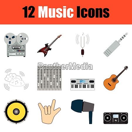 music icon set color design