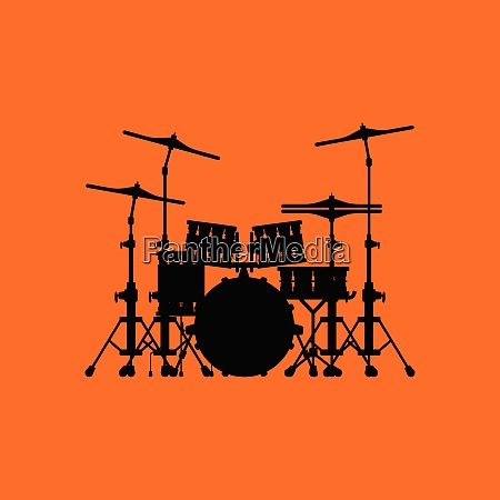 drum set icon orange background with