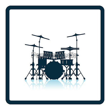 drum set icon shadow reflection design