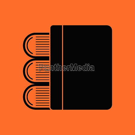 stack of books icon orange background