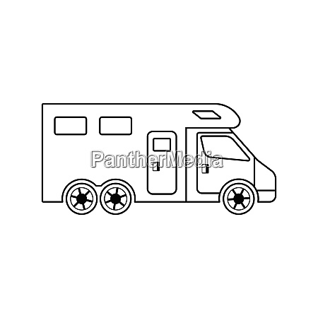 icon of camping family caravan car