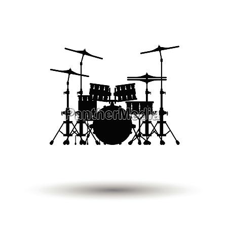 drum set icon white background with