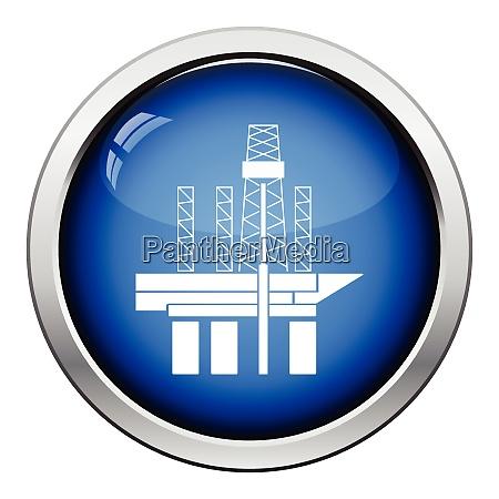 oil sea platform icon glossy button