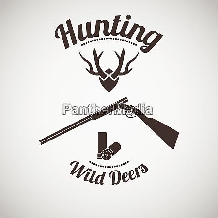 jagd vintage emblem geoeffnete jagdgewehr mit