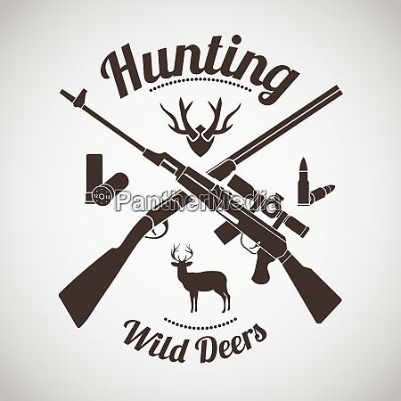 jagd vintage emblem gekreuzte jagdpistole und
