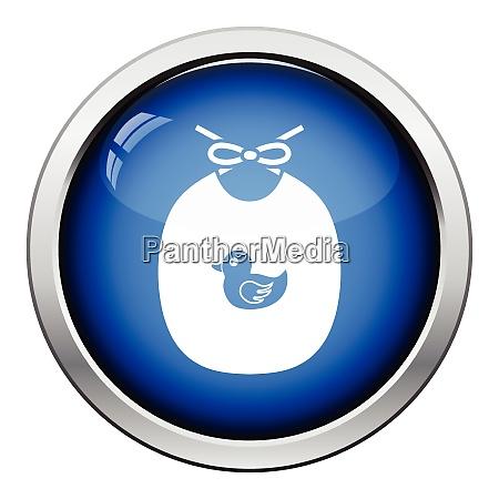 bib icon glossy button design vector