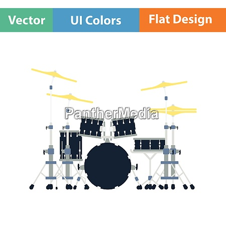 drum set icon flat color design