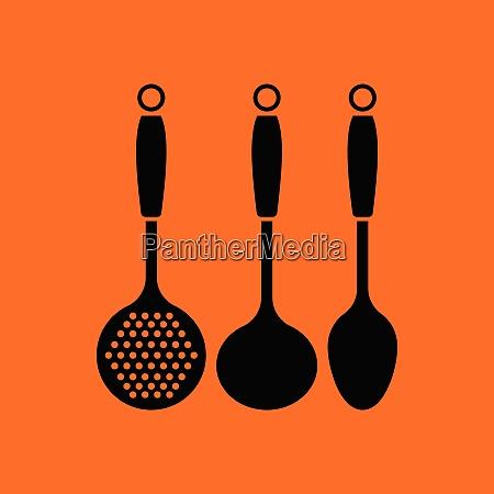 ladle set icon orange background with