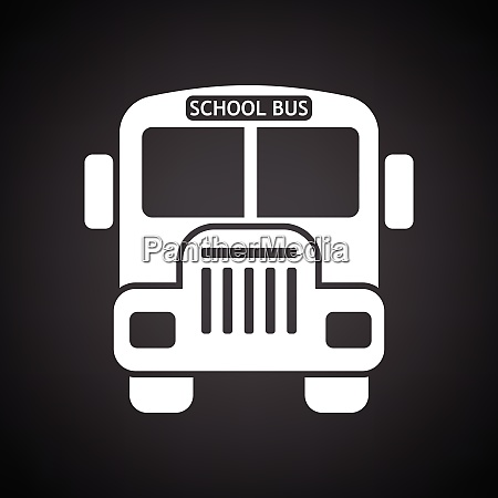 school bus icon black background with
