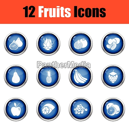 fruit icon set glossy button design