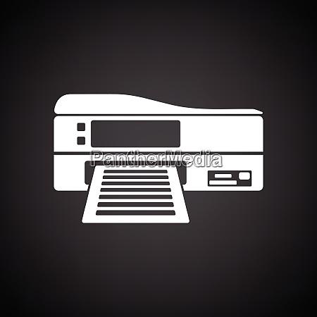 printer icon black background with white