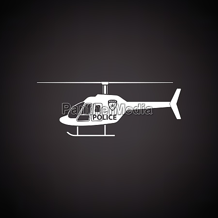 police helicopter icon black background with