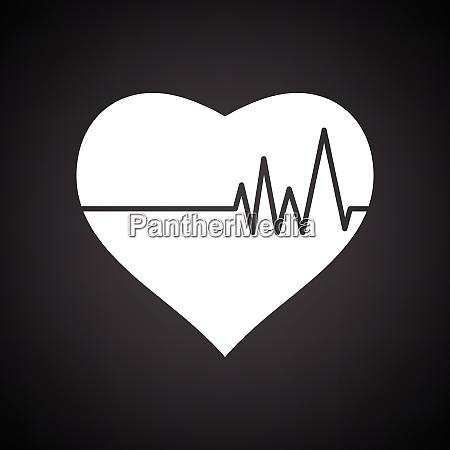 heart with cardio diagram icon black