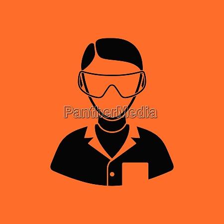 ikone der apotheke in brillen orangefarbener