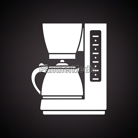 kitchen coffee machine icon black background