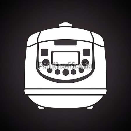 kitchen multicooker machine icon black background