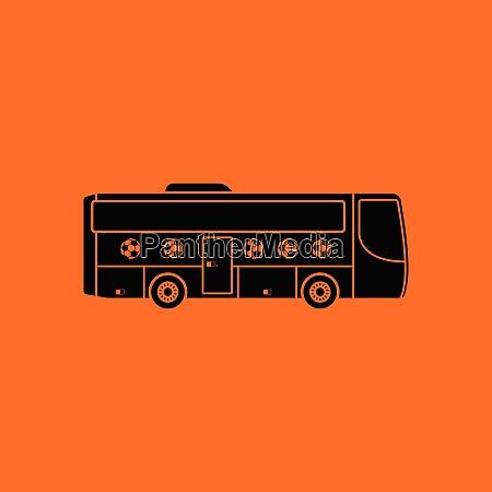 fussball fanbus ikone orangefarbener hintergrund mit