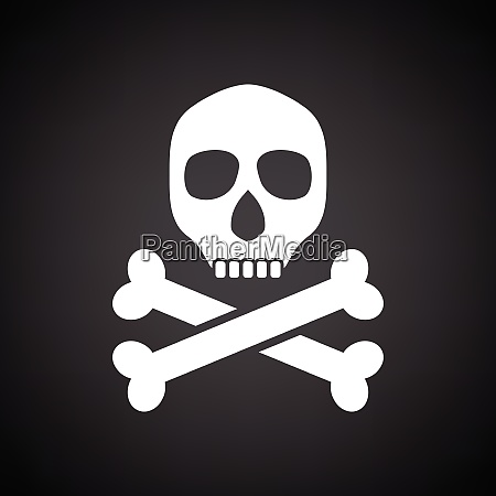 poison sign icon black background with