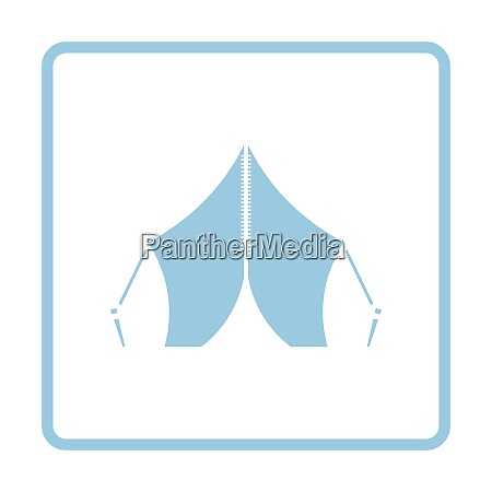 touristic tent icon blue frame design