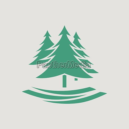 tannenwald symbol grauer hintergrund mit gruen
