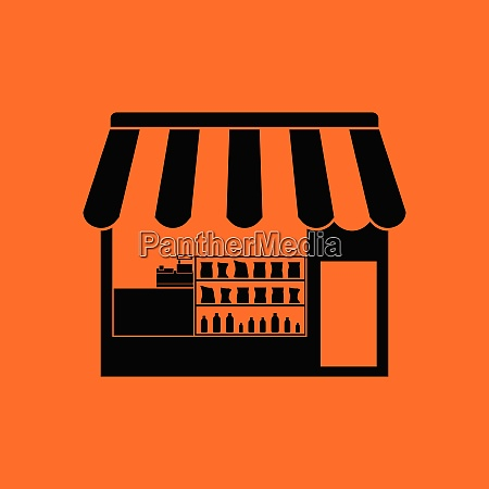 tent shop icon orange background with