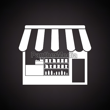 tent shop icon black background with