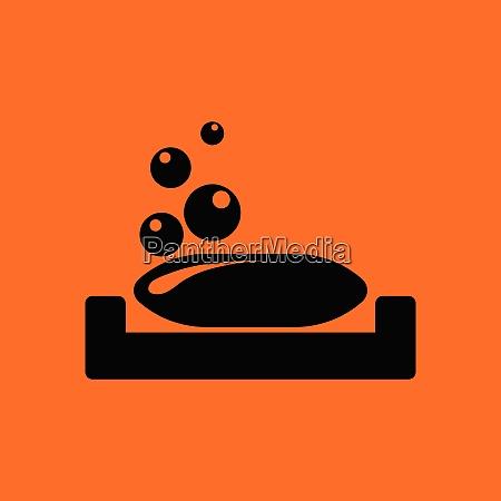 soap dish icon orange background with