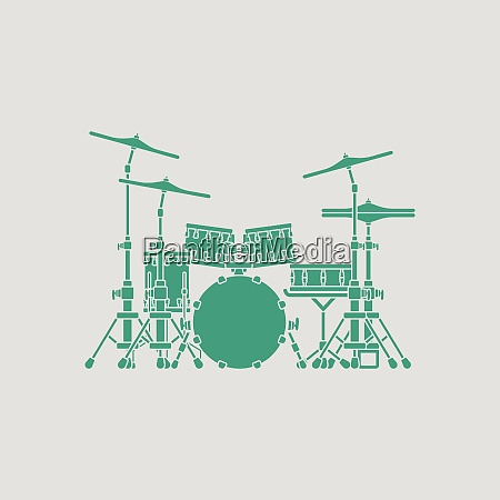 drum set icon gray background with