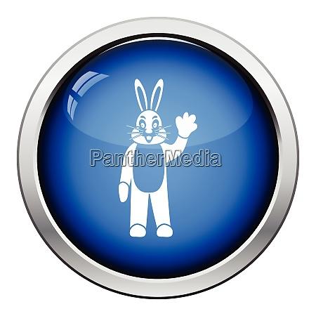 hare puppet doll icon glossy button