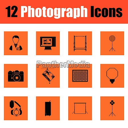 photography icon set orange design vector